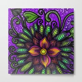 Waterflower Mandala Metal Print