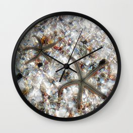 Starfish and Seashells by Barbara Chichester Paintographer Wall Clock