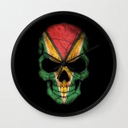 Dark Skull with Flag of Guyana Wall Clock