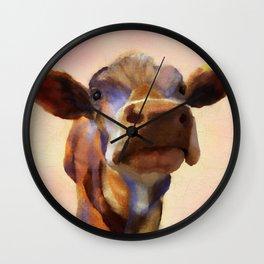 Cora the cow, cow art, cow, farm, animal Wall Clock