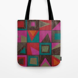 squares of colors and shreds Tote Bag