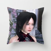 asian Throw Pillows featuring Asian Beauty by Design Windmill