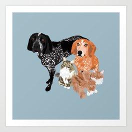 Lady, Blue, Leo and Butch Art Print