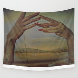PORTRAIT OF A PASSIONATE WOMAN  (The Hands)  by Salvador Dali Wall Tapestry