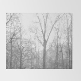 Black and White Forest Illustration Throw Blanket