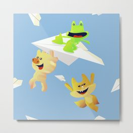 friends having fun with paper planes Metal Print