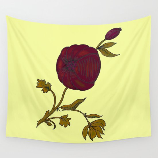 simple decorative pomegranate 3 Wall Tapestry