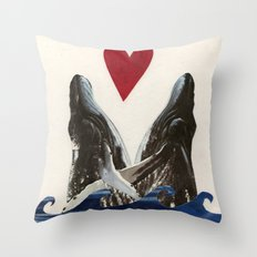 Whales in Love Throw Pillow