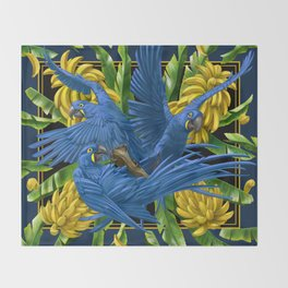 Hyacinth Macaws and bananas Stravaganza (black background). Throw Blanket