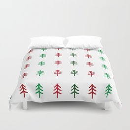 Hand drawn forest green and red trees for Christmas time Duvet Cover