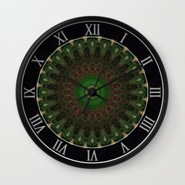 Mandala in dark red and green colors Wall Clock