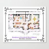 gilmore girls Canvas Prints featuring House of Lorelai & Rory Gilmore - Ground Floor by nikneuk