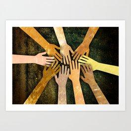 Grunge Community of Hands Art Print