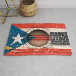 Old Vintage Acoustic Guitar with Puerto Rican Flag Rug