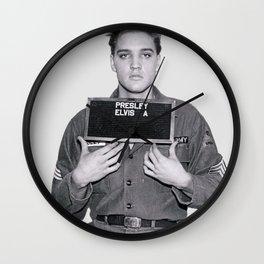 ELVIS PRESLEY - ARMY MUGSHOT Wall Clock