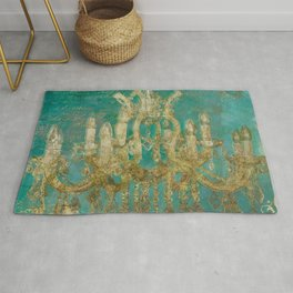 Gold and Peacock Chandelier Rug