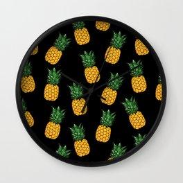 Pineapple Black Wall Clock