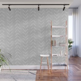 Mudcloth Big Arrows in Grey Wall Mural