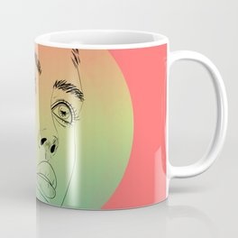 beautiful digital sketch of a lovely female face against pastel colors Coffee Mug