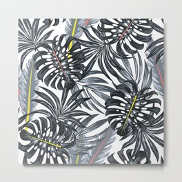 Abstract seamless tropical pattern with bright plants and leaves on a delicate background. Tropical botanical. Seamless pattern with colorful leaves and plants. Metal Print
