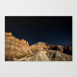 Into the Sea - Night Sky Over the South Dakota Badlands Canvas Print