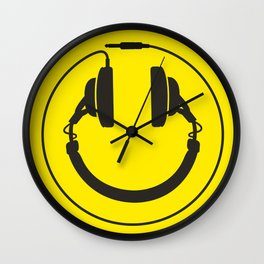 Headphones smiley wire plug Wall Clock