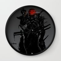 suit Wall Clocks featuring ShadowBlade Suit by Benedick Bana