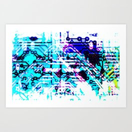 circuit board blue Art Print