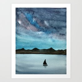 Watercolor galaxy and boat landscape Art Print