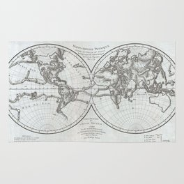 Vintage Northern and Southern World Hemisphere Map Rug