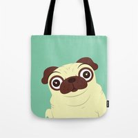 pug Tote Bags featuring Pug by Hoborobo