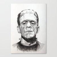 frankenstein Canvas Prints featuring Frankenstein by calibos