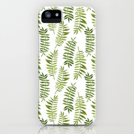 Watercolor hand-painted floral summer exotic tropical leaves seamless pattern iPhone Case