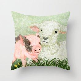 Lamb and Piglet Throw Pillow