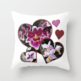 Hearts and Orchids Throw Pillow