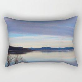 Blue Lake Reflection Rectangular Pillow