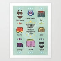 super heroes Art Prints featuring kinky super heroes by Audrey Molinatti