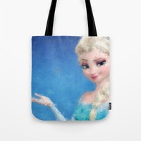 frozen elsa Tote Bags featuring Elsa - Frozen by lauramaahs