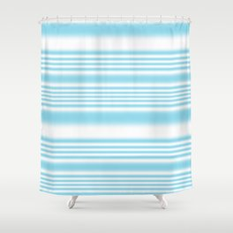 Sky Blue and White Stripes Shower Curtain