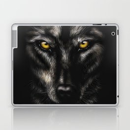 hand-drawing portrait of a black wolf on a black background Laptop & iPad Skin