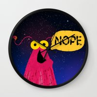 nope Wall Clocks featuring Nope by EclecticMayhem