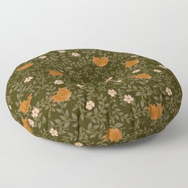 Olive and Orange Winter Floral Pattern Floor Pillow
