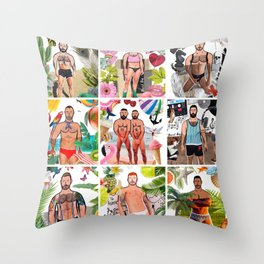 Beard Boy: Summer of fun Throw Pillow