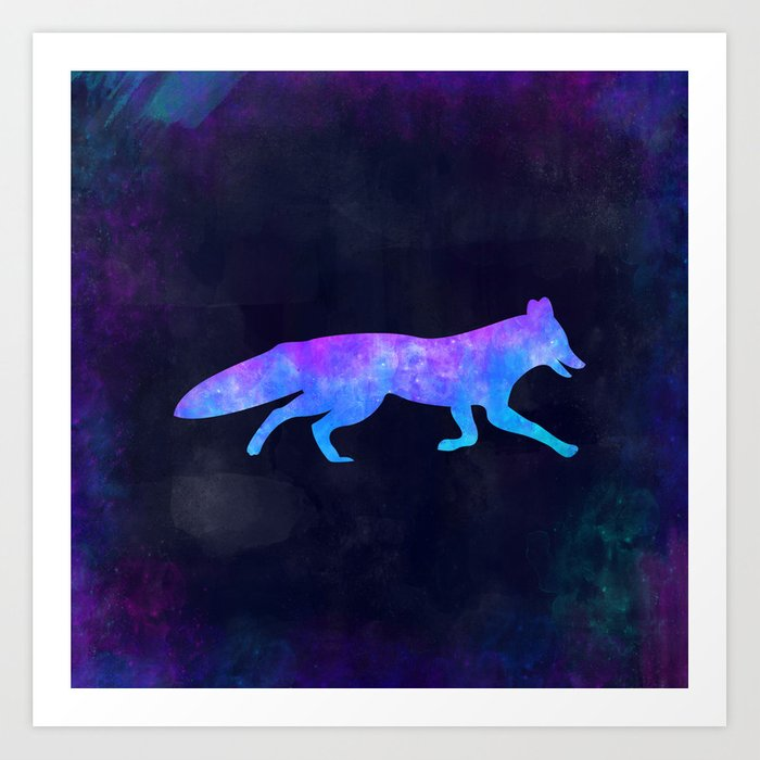 FOX IN SPACE // Animal Graphic Art // Watercolor Canvas Painting // Modern Minimal Cute Art Print