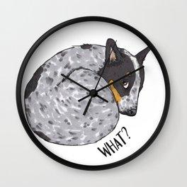 Blue Heeler What? Wall Clock