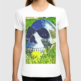 Skull with yellow flower T-shirt