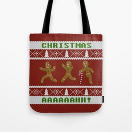 Ugly Christmas Sweater Scared Gingerbread Men Red Tote Bag