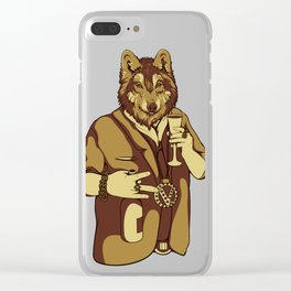 Sophisticated Wolf - having a drink Clear iPhone Case