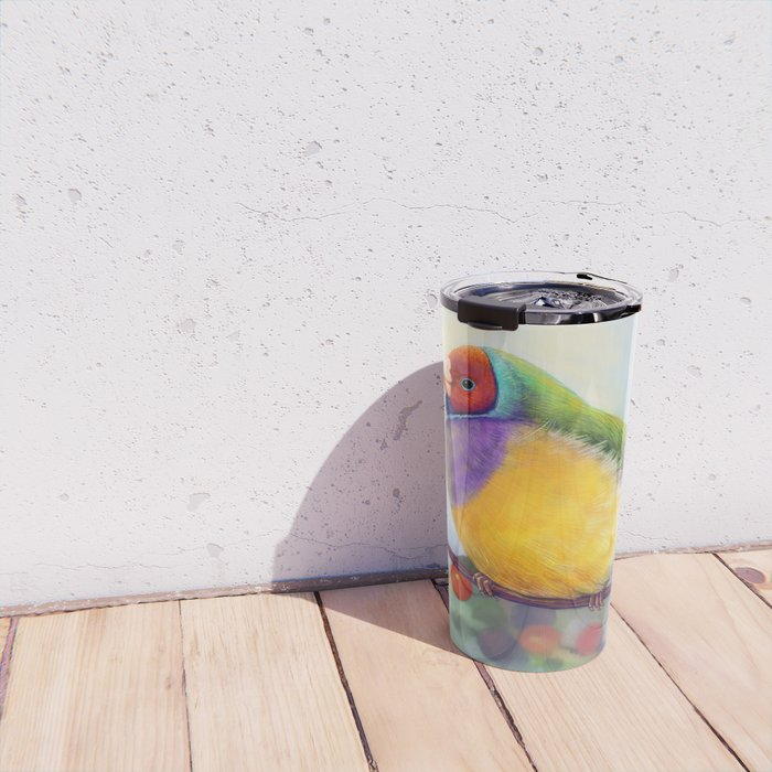 Gouldian finch realistic painting Travel Mug