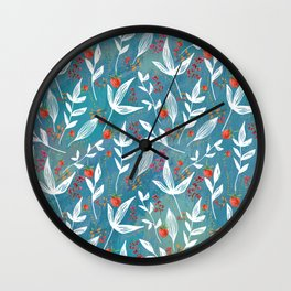 Fun Berry Pattern on turquoise background Wall Clock